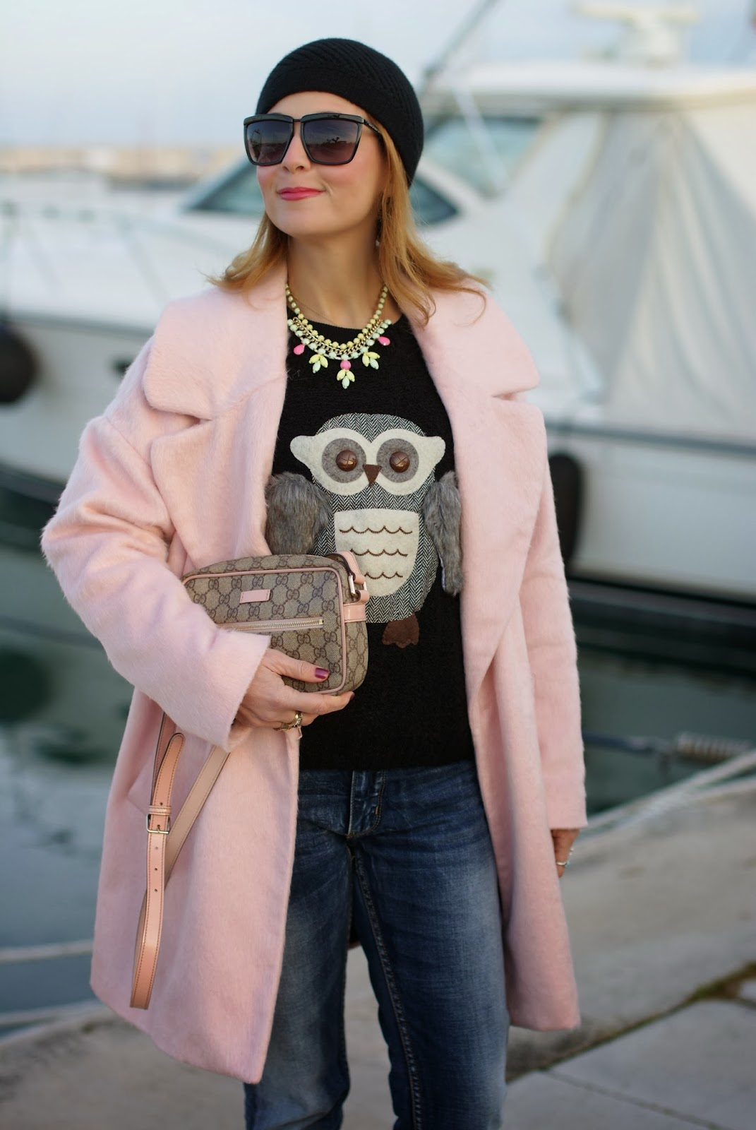 oversized pink coat, gucci pink bag, romwe owl jumper, fashion and cookies, fashion blogger