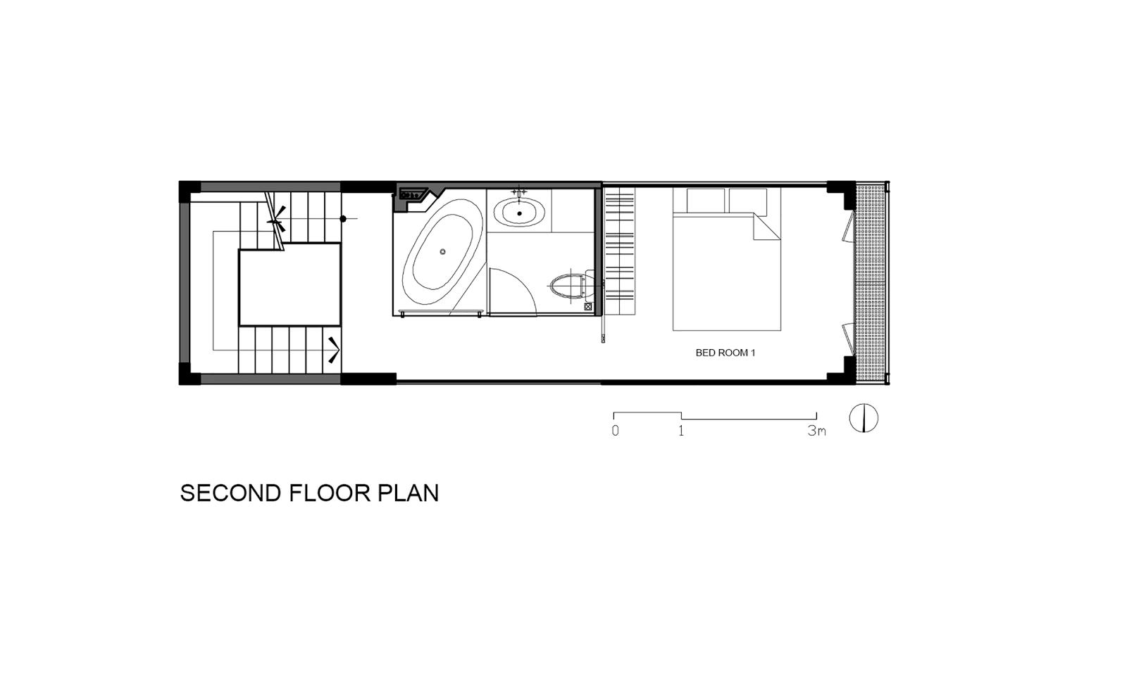 Denah Lantai 2 Rumah Sempit 3x10 Meter