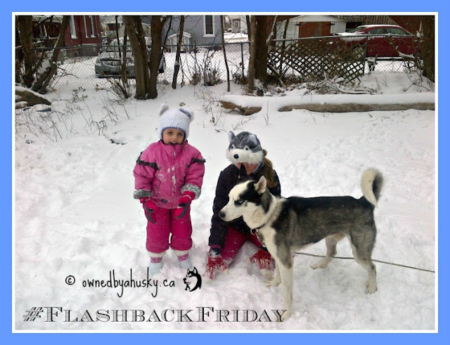 Flashback Friday - my kids and my husky playing in the snow