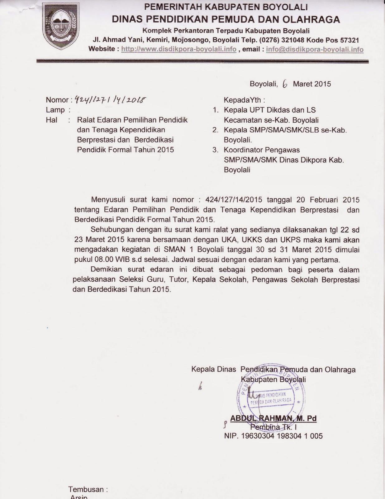 Info Sma Smk Kabupaten Boyolali Ralat Edaran Pemilihan Pendidik Dan Tenaga Kependidikan