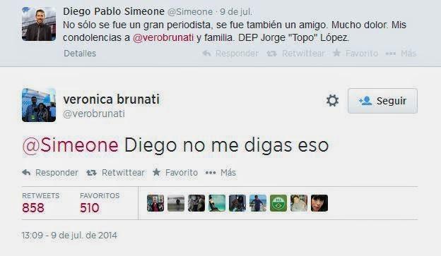 Verónica Brunati se entera por Twitter de la muerte del 'Topo' López