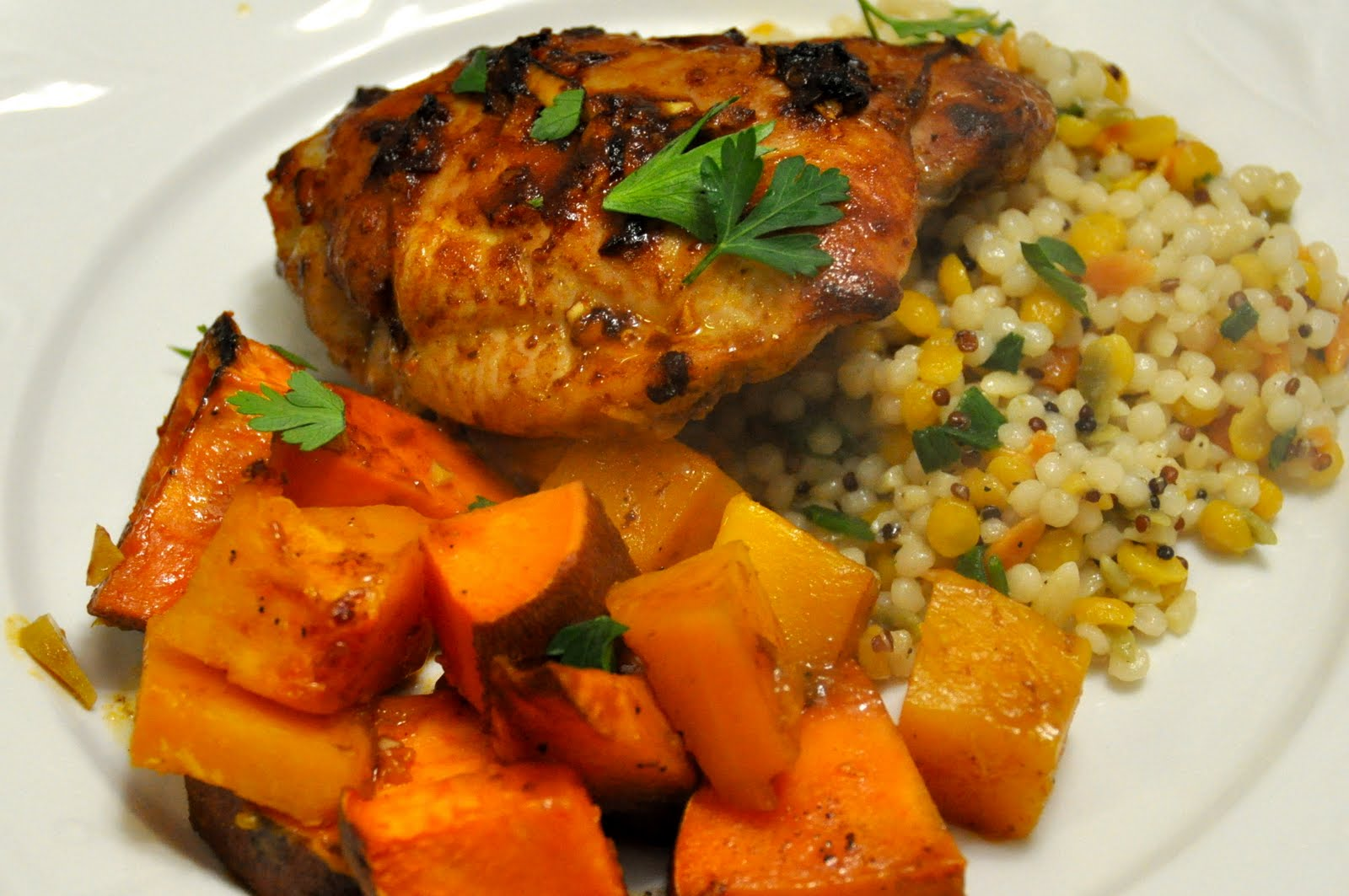 Spiced Chipotle Honey Chicken Breasts With Sweet Potatoes Recipe ...