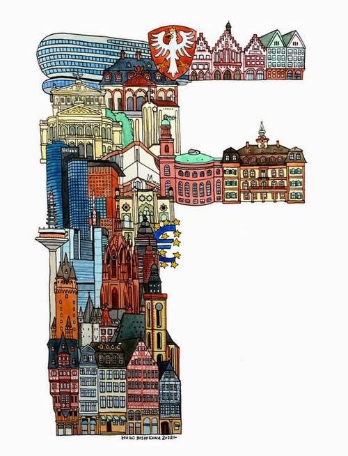 06-F-Frankfurt-Germany-Hugo-Yoshikawa-Illustrated-Architectural-Alphabet-City-Typography-www-designstack-co