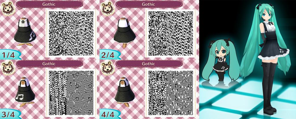 Animal Crossing: New Leaf: Musical Goth Dress QR Code Oarfish Animal Crossing