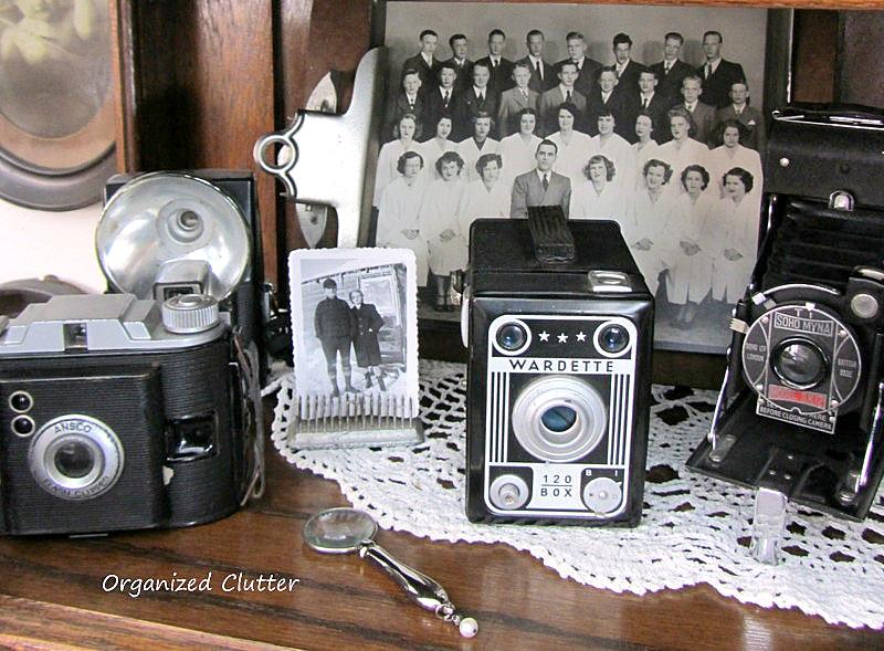 Vintage Camera Vignette www.organizedclutterqueen.blogspot.com