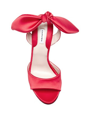 Carven Red Sling back peep toe heels with bow in back