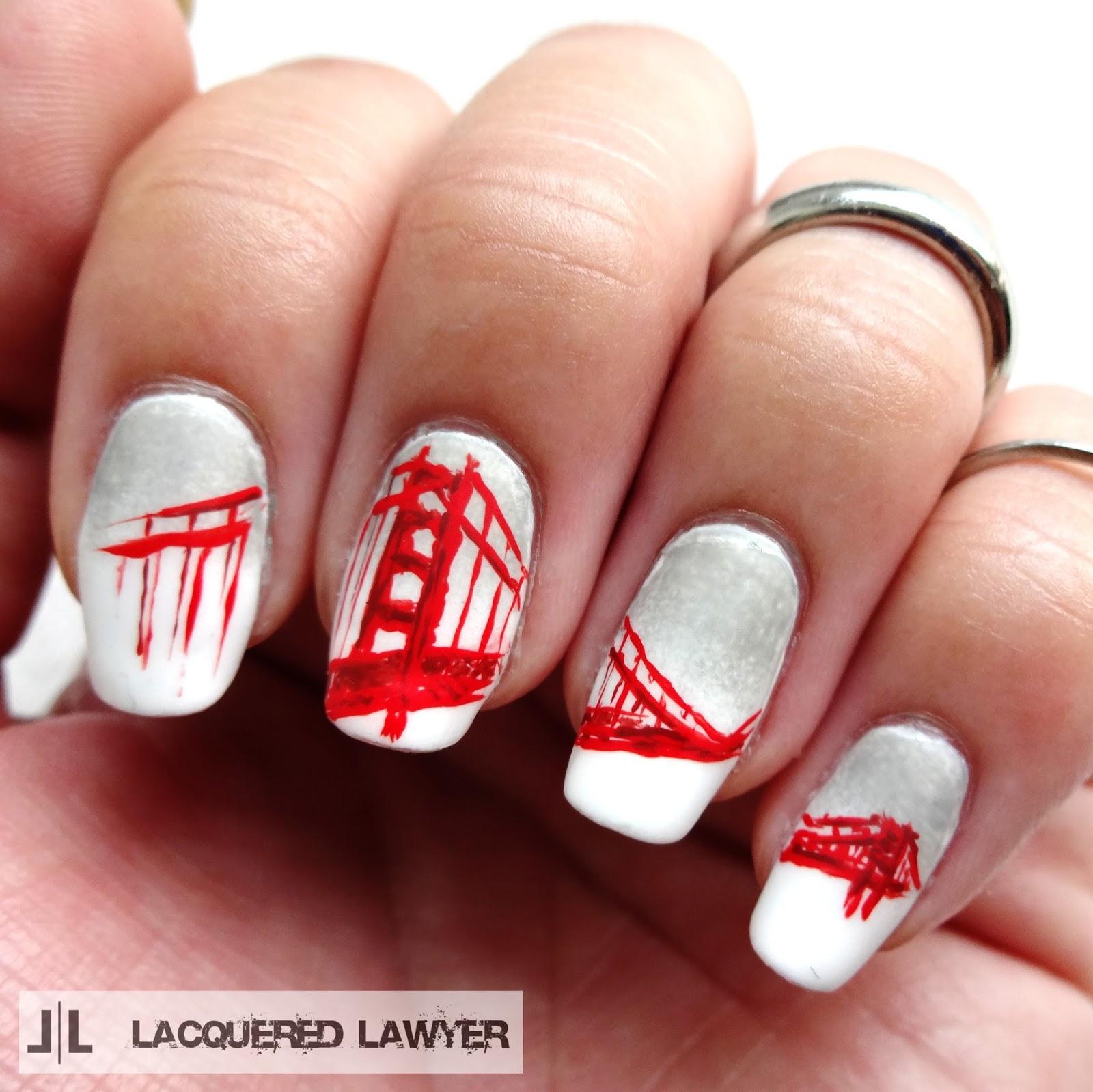 Golden Gate Bridge Nail Art