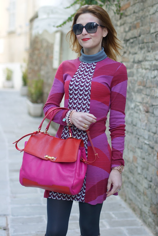fantasy print dress, fuchsia and red, Fashion and Cookies