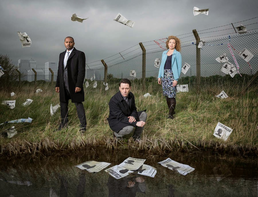 ITV Chasing Shadows REECE SHEARSMITH as DS Sean Stone, ALEX KINGSTON as Ruth Hattersley and NOEL CLARKE as DCI Carl Prior