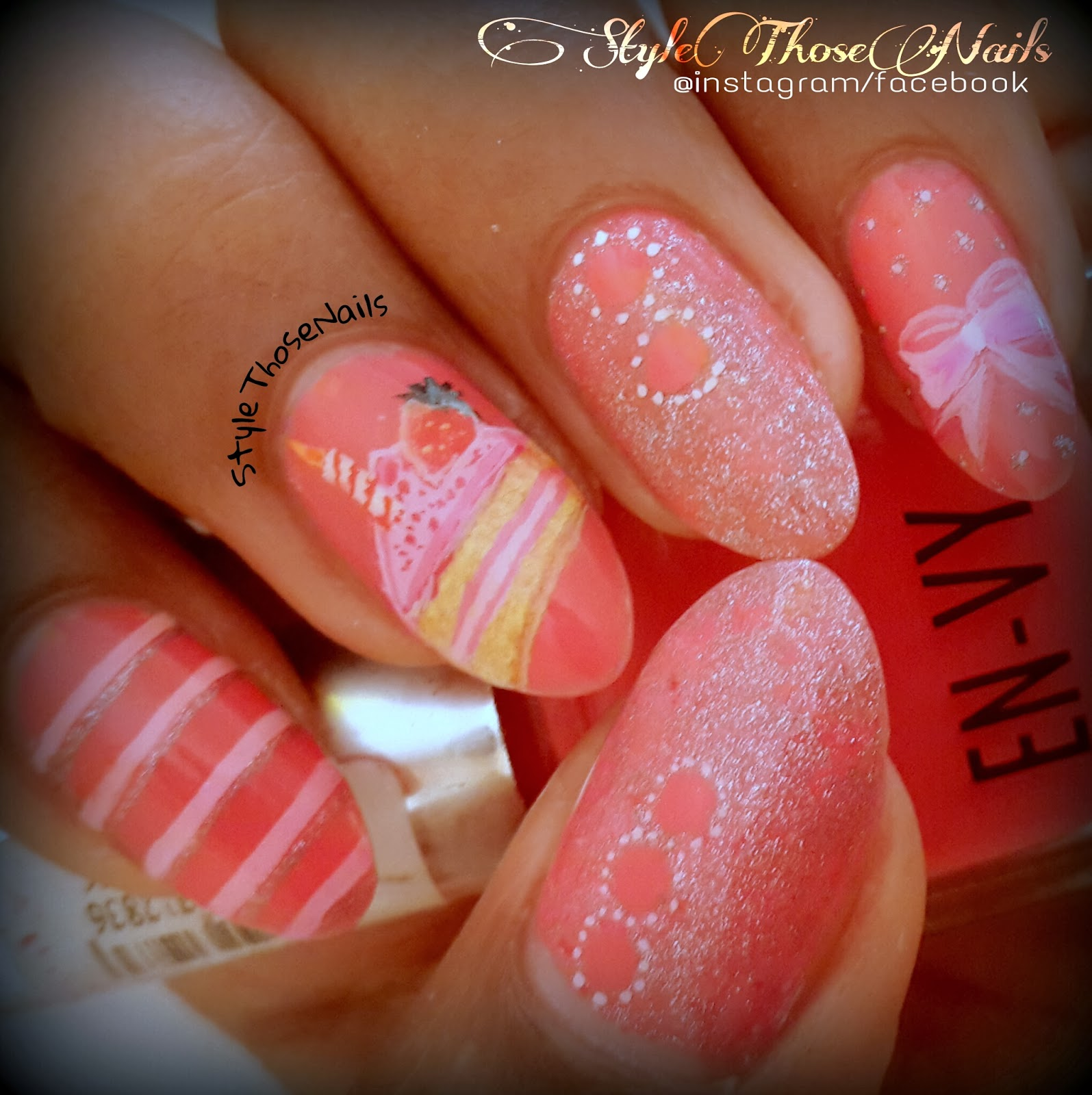 Style Those Nails My Birthday Nails Cake Bow And Stripes