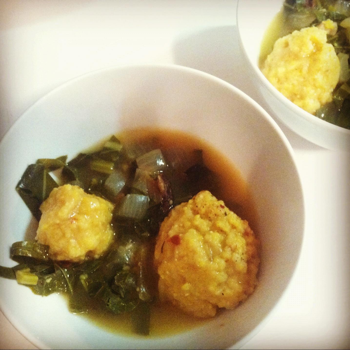 Farshicle: Simmered Collard Greens with Cornmeal Dumplings