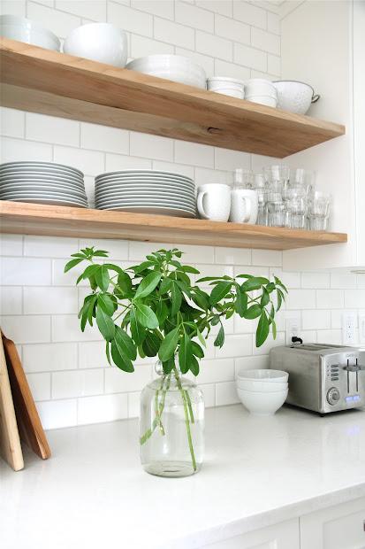 White Subway Tile Kitchen with Shelf