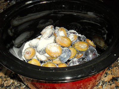 Prunes and sugar about to start cooking
