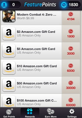 Feature Points rewards, like iTunes, Amazon, PayPal giftcards