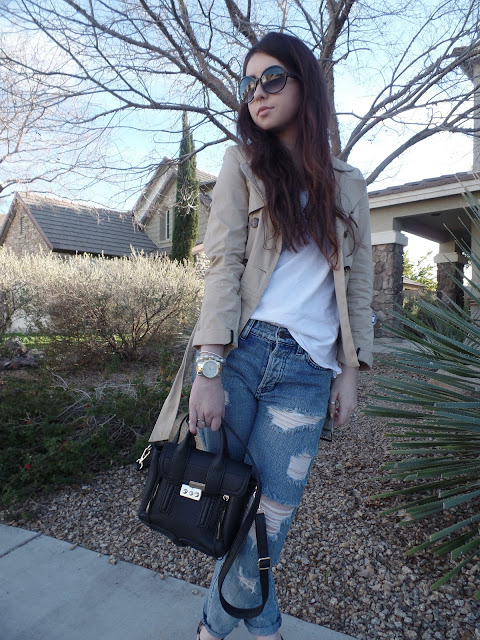 trench coat and distressed jeans chic outfit