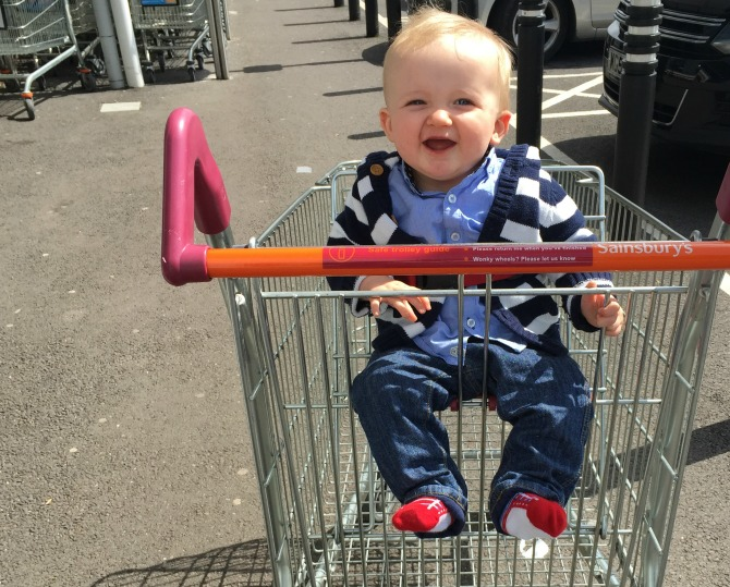 Squidge in a trolley for the first time