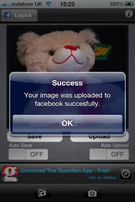 Pantalla de la aplicación iPhone 4 Straight2Facebook