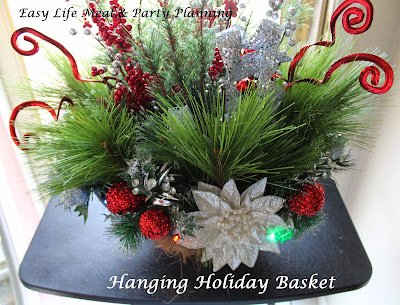 Decorating a hanging basket for the Holidays - Easy Life Meal & Party Planning