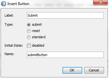 Window showing the settings for creating a submit button