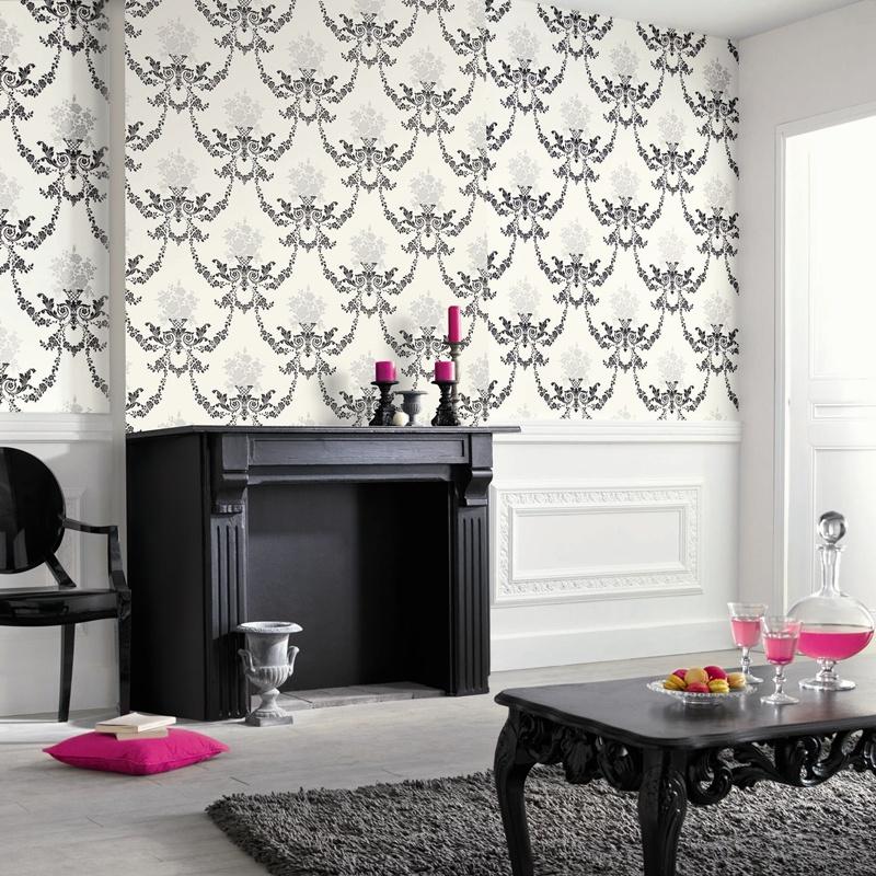 Papel pintado papel pintado black white for Papel pintado clasico