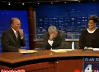 two newsreader cant stop laughing when the lady fall