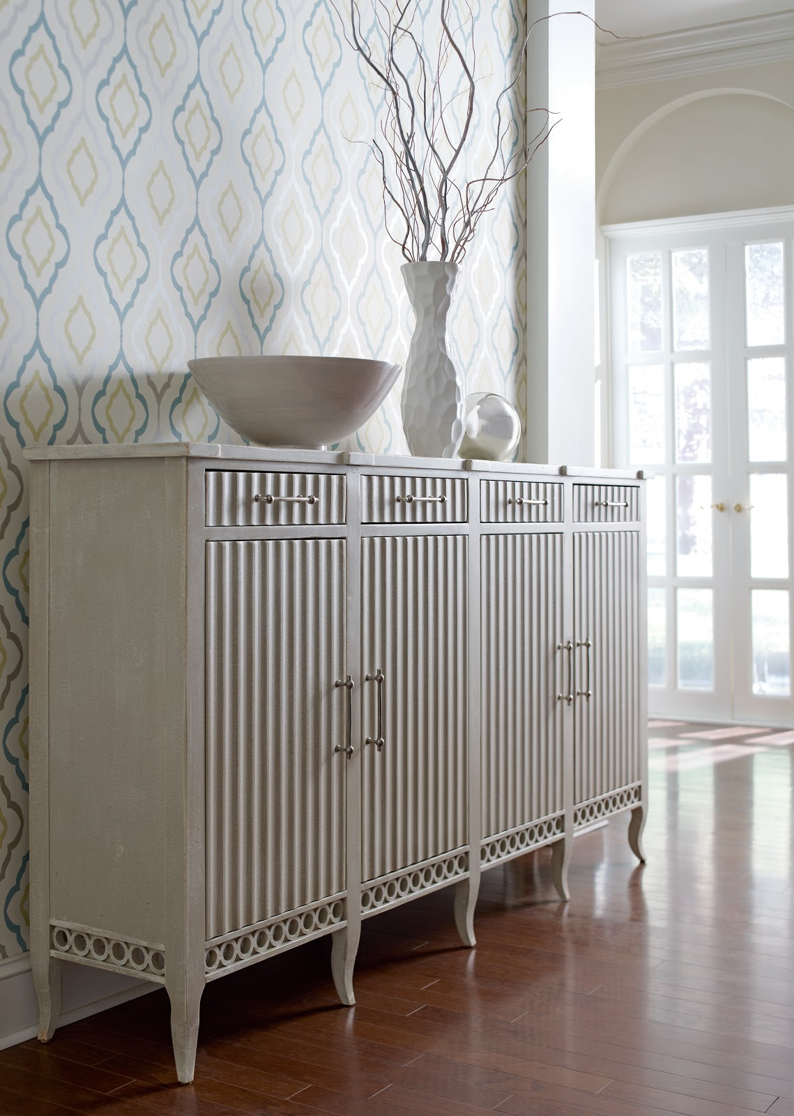 American Treasures Cape Code Sideboard, s hown in Charleston Gray. title=