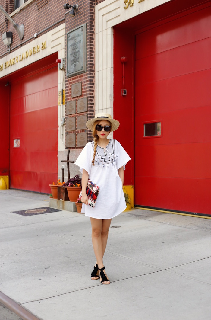 j crew embroidered tassel beach tunic, karen walker super duper sunglasses, sole society koa fringe sandals, sole society tassel clutch, lack of color straw hat, street style, fashion blog, summer outfit ideas, beach tunic outfit