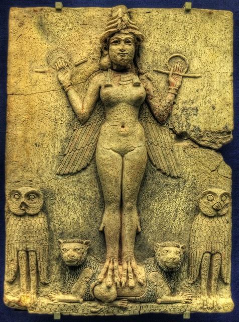 Древний Вавилон, барельеф королева ночи, аспект Иштар, Инанна, богиня шумеров, пришельцы, анунаки