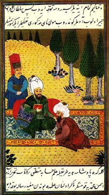 Ayasofya Medresesinde yıllarca hocalık  yapan Ali Kuşçu'yu, Fatih Sultan Mehmed'e  Muhammediye adlı matematikle  ilgili kitabını takdim ederken gösteren minyatür