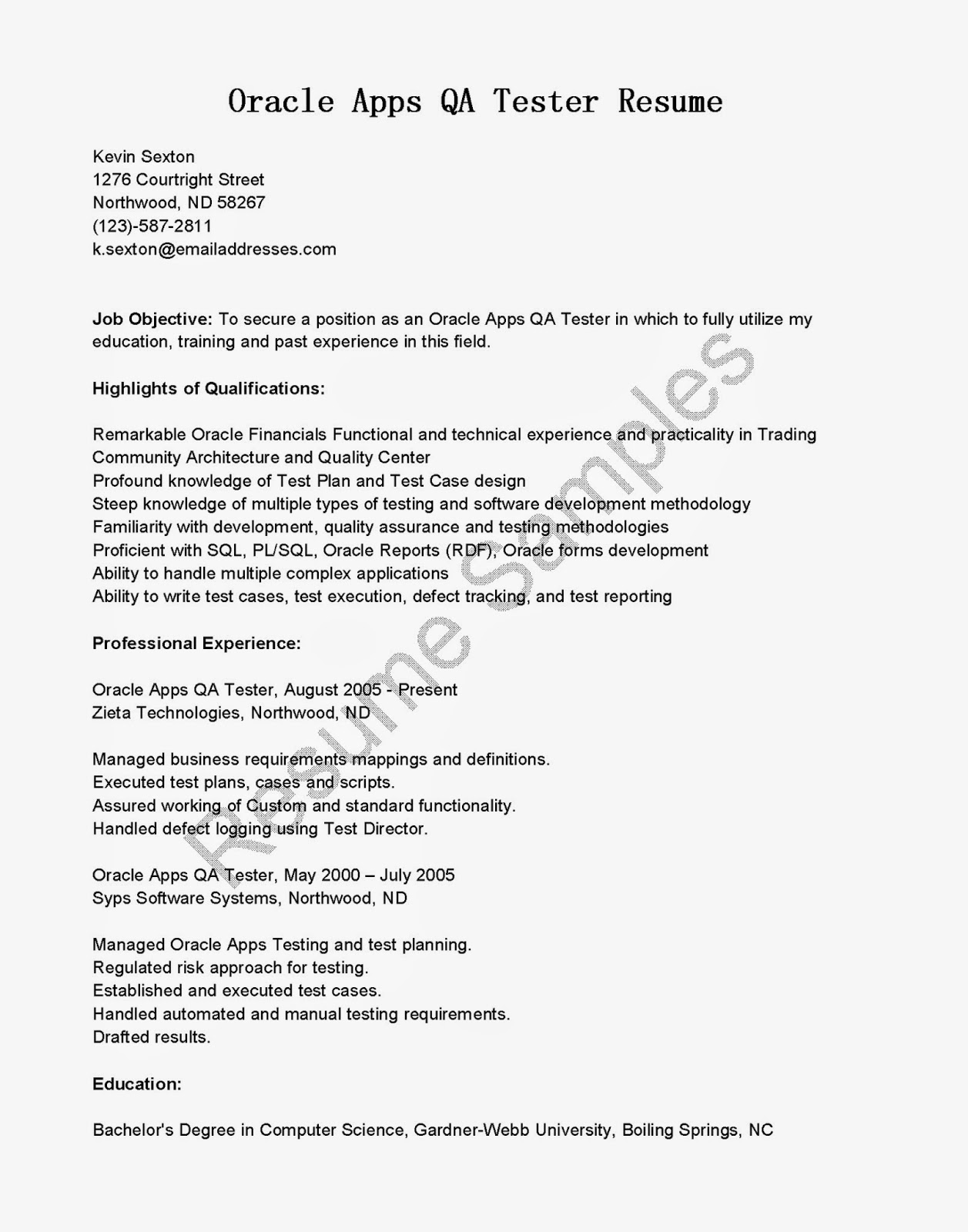 sample qa tester resume