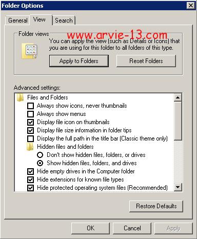 "Kemudian buka tab ""view"" lalu tandai pilihan ""Show hidden files ..."