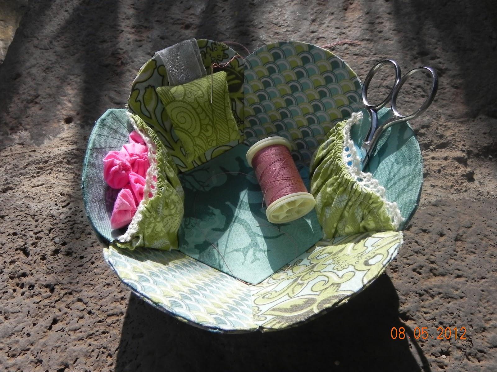 Cesta de costura patchwork y cartonaje creaciones de erica - Cesta de costura ...
