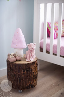 Bedside tables with logs