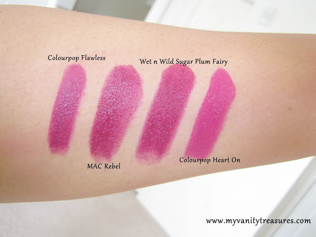MAC Rebel Dupe, Colourpop Flawless, Wet n wild Sugar Plum Fairy