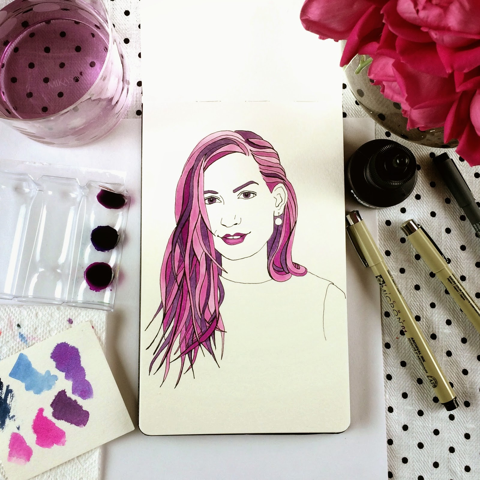Inktober fashion illustration of Katie Rodgers of PaperFashion by Jessica Mack aka BrownPaperBunny