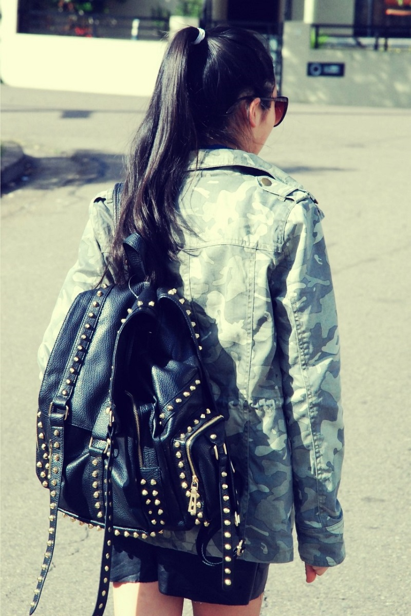 military, grunge trend, the editors market, ASOS, Vila, camo print, studded backpack, leather skirt, denim