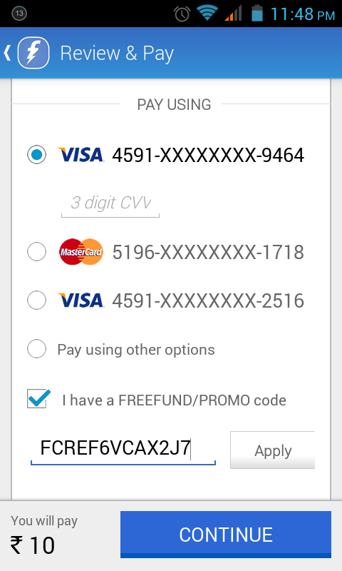 What is a coupon code on a visa card