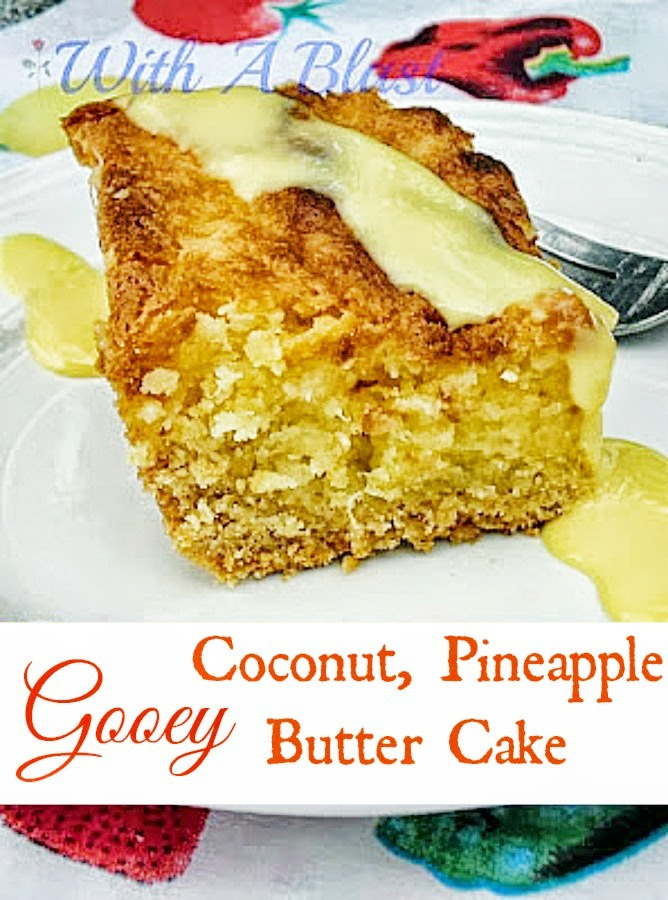 Gooey Coconut Pineapple Butter Cake ~ Gooey, moist, delicious Tropical cake ~ No need for icing ! #PineappleCake #ButterCake