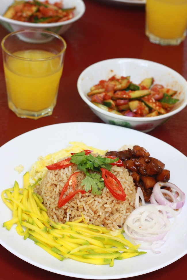 belacan rice with chicken, green mango, and kerabu salad