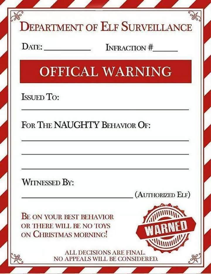 All that spam department of elf surveillance official warning for Naughty letter from santa for adults