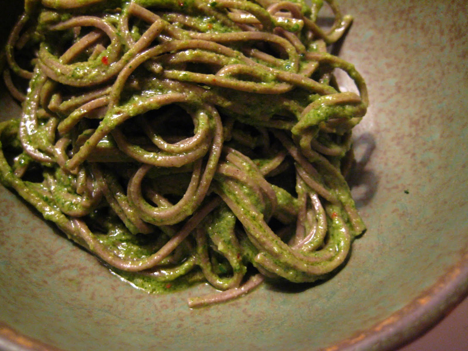 dandelion pesto with sunflower seeds and miso