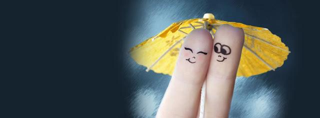 Finger Lovers Together Under Umbrella