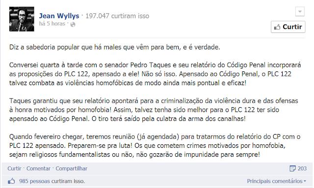 """Vitória? Comemoração? Jean Wyllys revela a verdadeira intenção por trás do """"fim"""" da PL 122"""