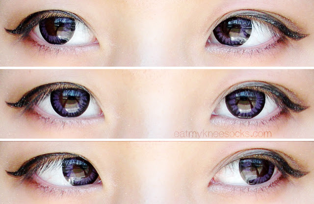 Left, right, and center views of the M.I Contact Violet circle lenses from Klenspop.