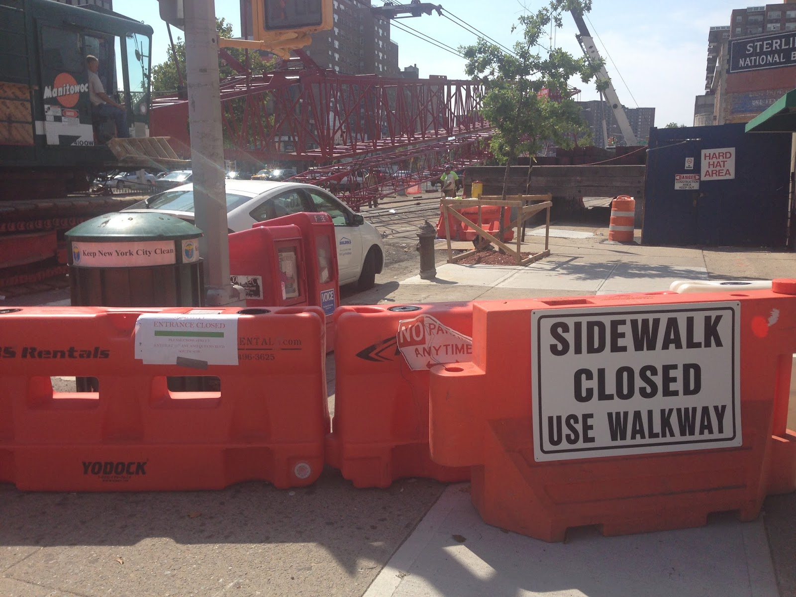 "What walkway? The ""street"" you have to cross is Queens Boulevard"