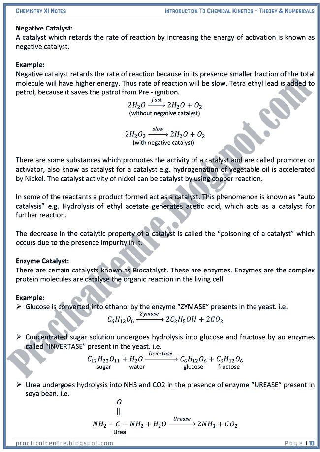 Introduction To Chemical Kinetics - Theory And Numericals (Examples And Problems) - Chemistry XI