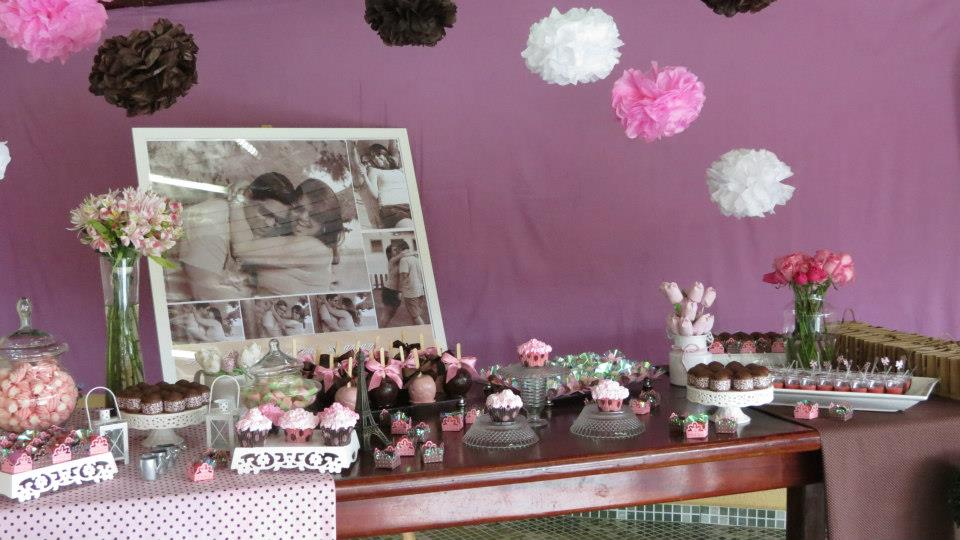 decoracao festa noivado:Festa Noivado! Rosa e Marrom!