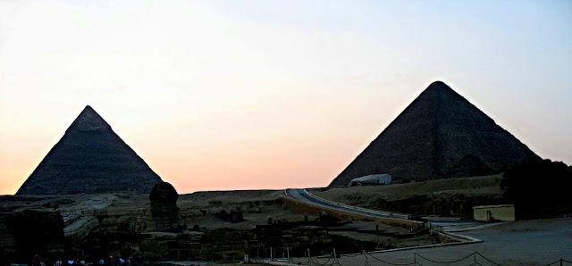 pyramids at dusk