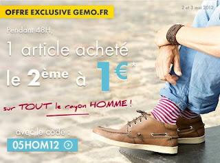 Offre exlusive Gémo.fr: 1 article acheté le deuxième à 1€ sur tout le rayon homme bon plan