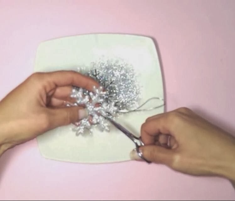 Resultado de imagen de copos de nieve con purpurina plato